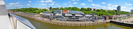 reeperbahn: Hamburg, Germany - May 24, 2008: Hamburg harbor - street Grosse Elbstrasse panorama, building complex with several different companies - view from Dockland fishing harbor towards park Heinepark, and town hall Altona, . Editorial