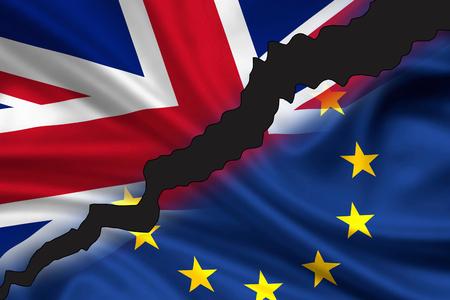bandera inglesa: bandera hecha jirones  dividida de Gran Bretaña (Union Jack) y Europa que simboliza la salida del Reino Unido de Europa (Brexit).