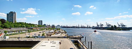 reeperbahn: Hamburg, Germany - May 24, 2008: Hamburg harbor - panorama, street Grosse Elbstrasse on the left, container terminal  Norderelbe on the right.