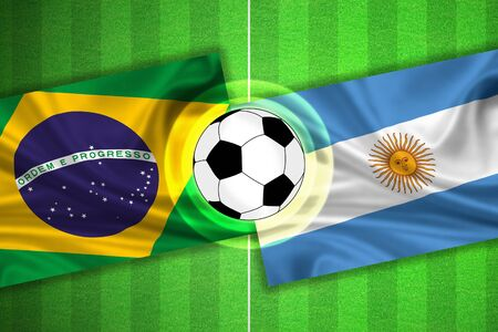 penalty flag: green Soccer  Football field with stripes and flags of brazil - argentina, and ball. Stock Photo