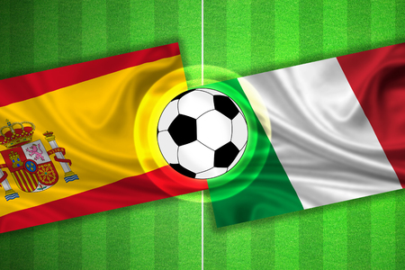 penalty flag: green Soccer  Football field with stripes and flags of spain - italy, and ball.