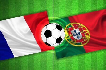 european championship: green Soccer  Football field with stripes and flags of france - portugal, and ball.