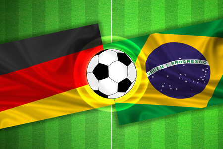 penalty flag: green Soccer  Football field with stripes and flags of germany - brazil, and ball.
