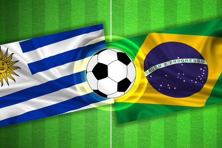 penalty flag: green Soccer  Football field with stripes and flags of uruguay - brazil, and ball.