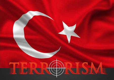 turkish flag: Turkey terrorism illustration - white hairline cross in red lettering on turkish flag