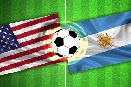 penalty flag: green Soccer  Football field with stripes and flags of usa  america - argentina, and ball.