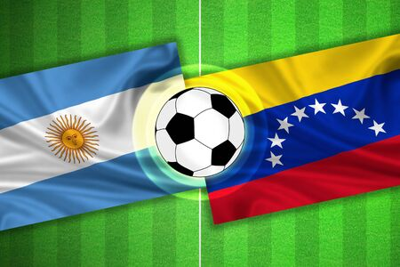 soccer wm: green Soccer  Football field with stripes and flags of argentina - venezuela, and ball.