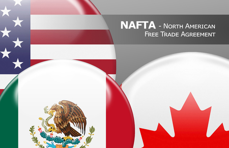 nafta: NAFTA USA Canada Mexico - Flag buttons labeled with NAFTA - North American Free Trade Agreement