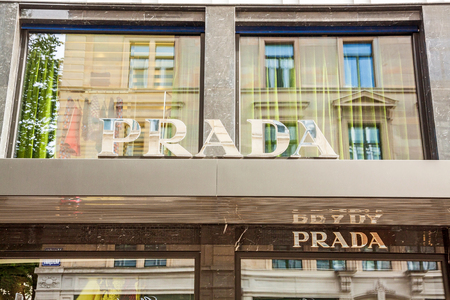 prada: Zurich, Switzerland - June 10, 2017: Prada Zurich, an Italian luxury leather goods and fashion company with international retail outlets, especially for its handbags and shoes.