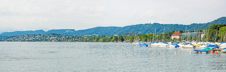helvetia: Lake Zurich panorama - west bank of the lake, view from Burkliterrasse towards Lido Enge and Mythenquai.