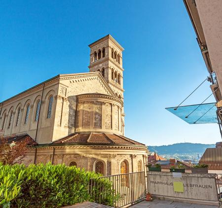 church steeple: Zurich, Switzerland - June 10, 2017: View of the Liebfrauen church in Zurich center
