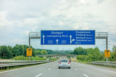 Highway A81(Autobahn) near town Pleidelsheim, exit Freiberg  Marbach (Neckar)  Steinheim (Murr) - direction Stuttgart  Ludwigsburg