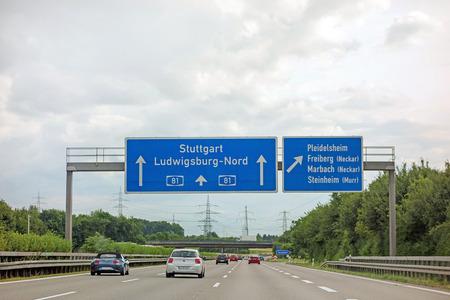 Pleidelsheim, Germany - June 28, 2017: Highway A81(Autobahn) near town Pleidelsheim, exit Freiberg  Marbach (Neckar)  Steinheim (Murr) - direction Stuttgart  Ludwigsburg Editorial