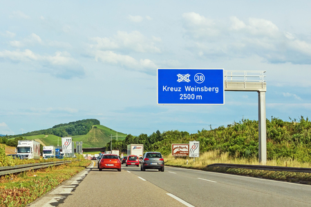 Weinsberg, Germany - June 28, 2017: Highway A6 (Autobahn) near town Weinsberg, interchange Kreuz Weinsberg