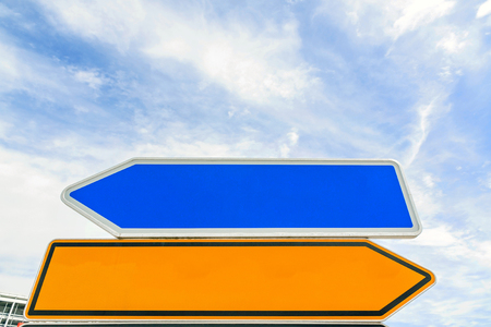 customizable: empty arrow traffic sign (bidirectional) pointing to different sides (left  right) - blue sky