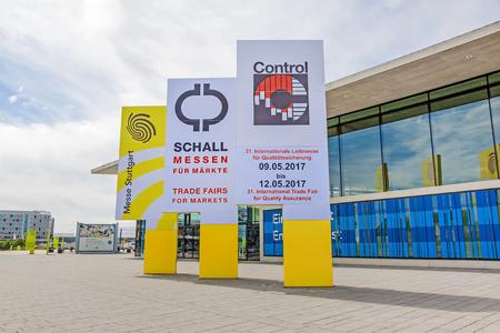 Leinfelden-Echterdingen, Germany - May 06, 2017: Trade fair Stuttgart, entrance east (Eingang Ost) - advertisement for International leading trade fair for quality management Control.