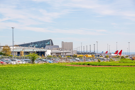 despatch: Airport Stuttgart, Terminal, exterior view with green field in foreground Editorial
