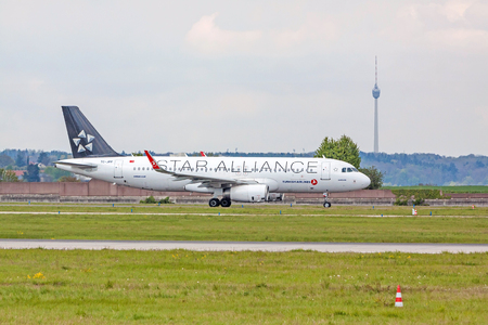 despatch: Stuttgart, Germany - April 29, 2017: Airbus airplane A320 from Turkish Airlines  Star Alliance at ground (airport Stuttgart) before take off - green meadow in front Editorial