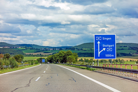 motoway road sign on (Autobahn 81  A 81  E 531) - exit to city Stuttgart - direction to city Singen
