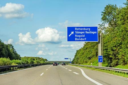 motorway road sign on (Autobahn 81 / A 81 / E 531) direction to city Herrenberg / Stuttgart - exit Rottenburg / Tubingen / Reutlingen / Nagold / Bondorf Banque d'images