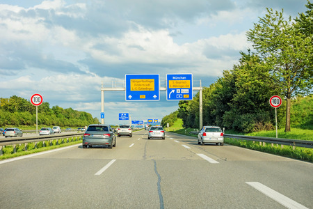 motorway road sign on (Autobahn A8  Bundesstrasse B27) direction Tubingen Reutlingen Filderstadt Leinfelden-Echterdingen, interchange Munich, Airport  Messe, S Degerloch Mohringen