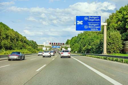 motorway road sign on (Autobahn A 8) direction to Stuttgart, exit Degerloch  Mohringen