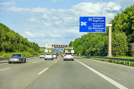 motorway road sign on (Autobahn A 8) direction to Stuttgart, exit Degerloch / Mohringen