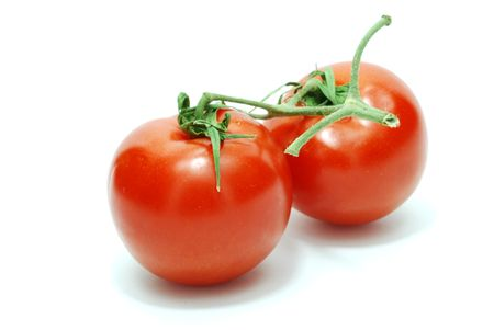 Two Isolated Red Tomatoes on White Background Stock Photo
