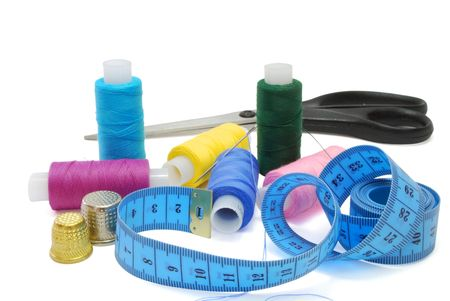 Isolated Sewing Accessories Set on White Background Stock Photo