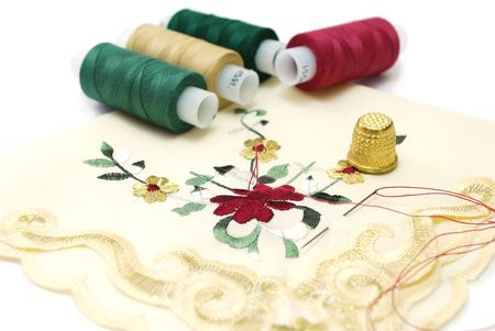 Handkerchief Sewing with Threads and Needle