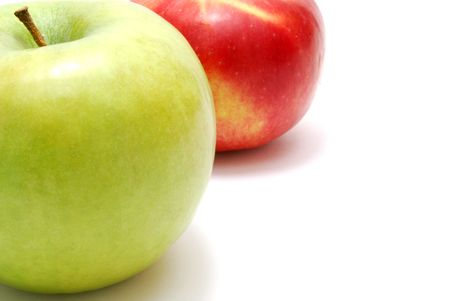 Green and Red Apples Isolated on White