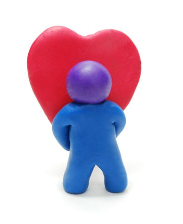 3d Man Holding Valentines Yeart Gift photo