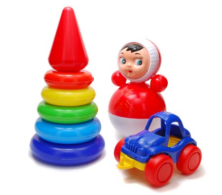 Set of Colored Plastic Children Toys Isolated on White Background
