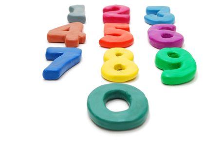 3d color phone keyboard layout digits Made of Plasticine Isolated on White Background