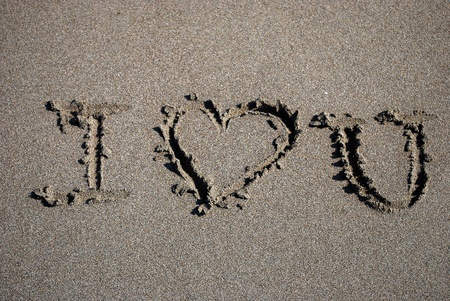 I Love You Text Written on the Sand