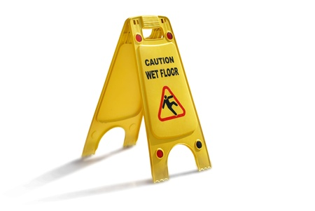 Wet Floor Caution Yellow Plastic Sign Isolated on White Background. Be Careful :)