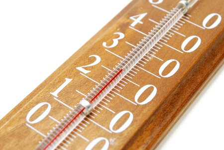 Closeup of Wooden Weather Thermometer Scale Isolated on White Standard-Bild