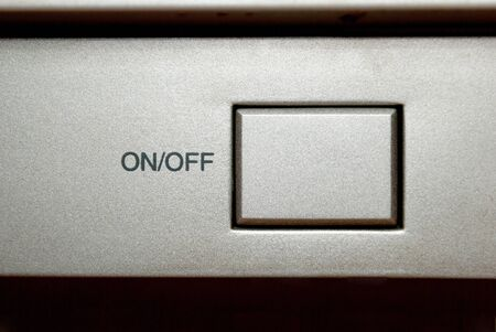 Square Silver On Off Switch Button Closeup Stock Photo