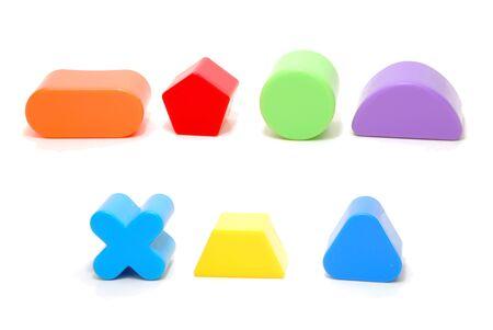 Random Plastic Geometric Figures Children Toys Isolated on White