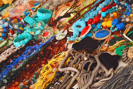 Collection of Colorful Necklace at Market Place