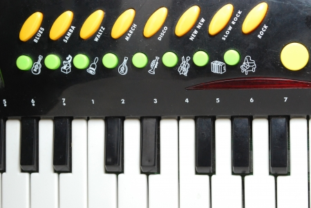 Children Piano Keyboard with Additional Buttons Stock Photo