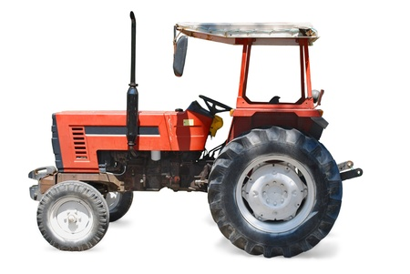 Red Tractor Vehicle Isolated on White Background Stock Photo