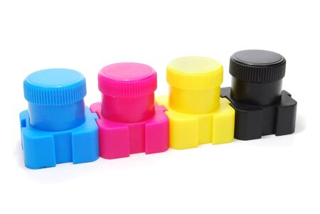 Four Ink  Paint  Cans of Cyan, Magenta, Yellow and Black Color  CMYK Concept  Isolated on White
