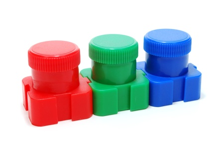 Three Ink  Paint  Cans of Red, Green and Blue Color  RGB Concept  Isolated on White Stock Photo