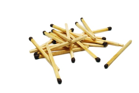 Heap of Matches Isolated on White