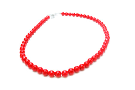 Beautiful Necklace of Red Beads Isolated on White