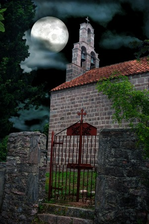 Gothic Chapel Graveyard on Full Moon Dramatic Sky Backgound