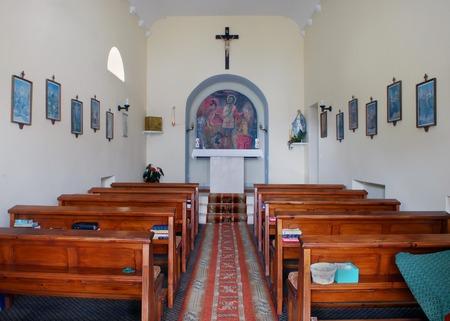 Petrovac, Montenegro - June 15, 2016, Tranquil Scene of Catholic Chapel (Church) Interior
