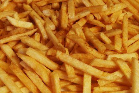 Fastfood Fried Potato Pieces Closeup For Background