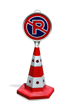 No Parking Sign Cone Isolated on White Background